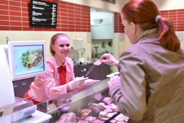 Lebensmittelbranche Verteilen von Kostproben
