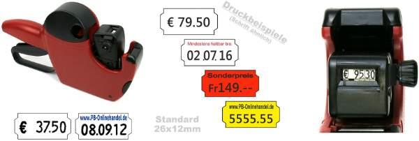Professioneller Auszeichner fuer Preis und Datum 6-stellig Rot