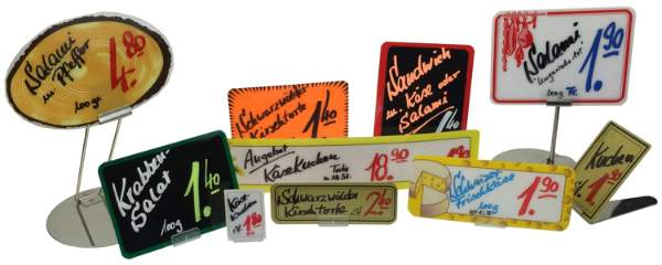 Verschiedene Preisschilder aus Kunststoff