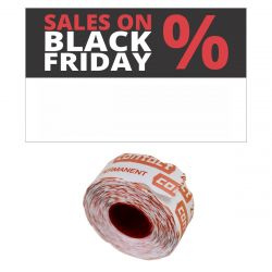 "Contact-Etiketten 26x16mm rechteckig ""SALES ON BLACK FRIDAY"" permanent"