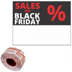 "Contact-Etiketten 37x28mm rechteckig ""SALES ON BLACK FRIDAY %"" permanent"