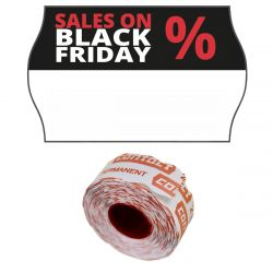 "Wellenrand-Etiketten 26x16mm ""SALES ON BLACK FRIDAY"" permanent"